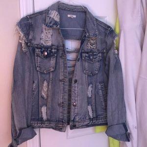 Distressed denim crop jacket w chains